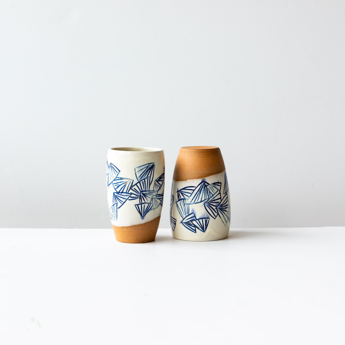 Two Handmade Mishima Stoneware Glassses With Blue Folding Fan Pattern - Sold by Chic & Basta
