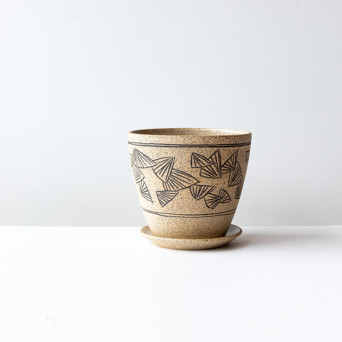 Handmade Mishima Stoneware Plant Pot With Saucer - Sold by Chic & Basta