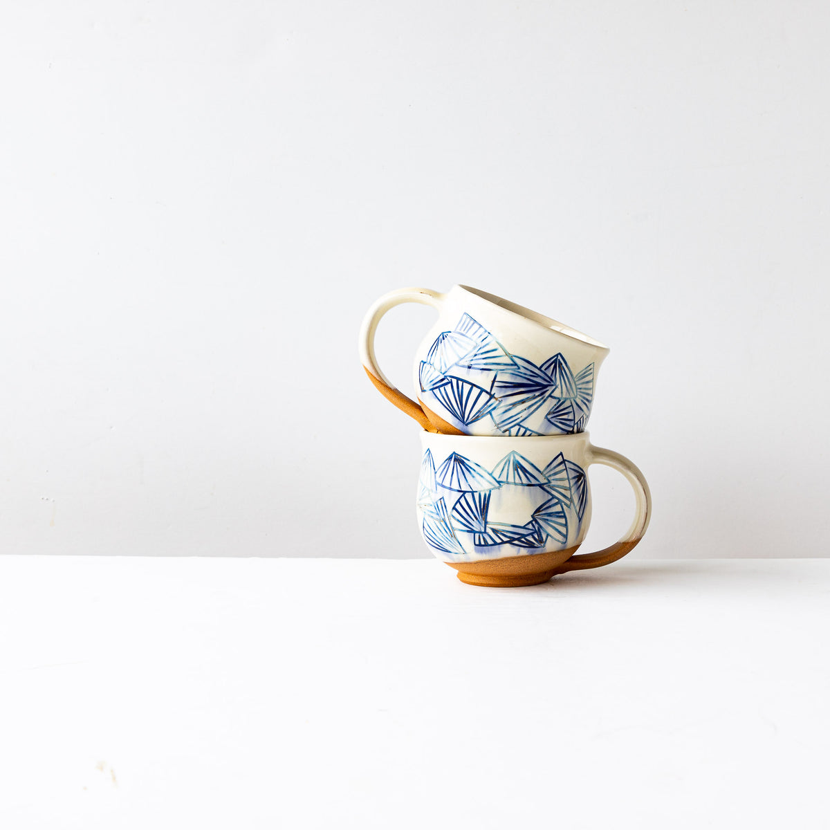 Blue Pattern - Handmade Mishima Round Mugs With Folding Fan Pattern - Sold by Chic & Basta
