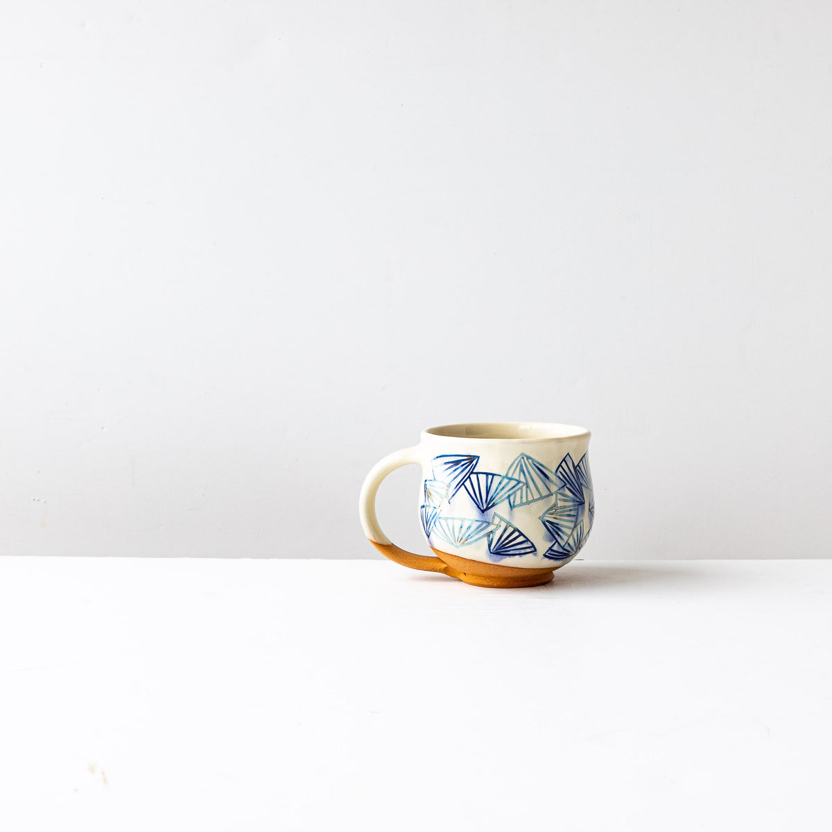 Blue Pattern - Handmade Mishima Round Mug With Folding Fan Pattern - Sold by Chic & Basta