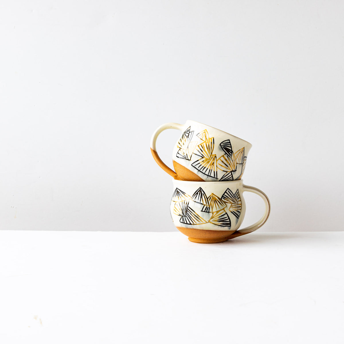 Black & Gold Pattern - Handmade Mishima Round Mugs With Folding Fan Pattern - Sold by Chic & Basta