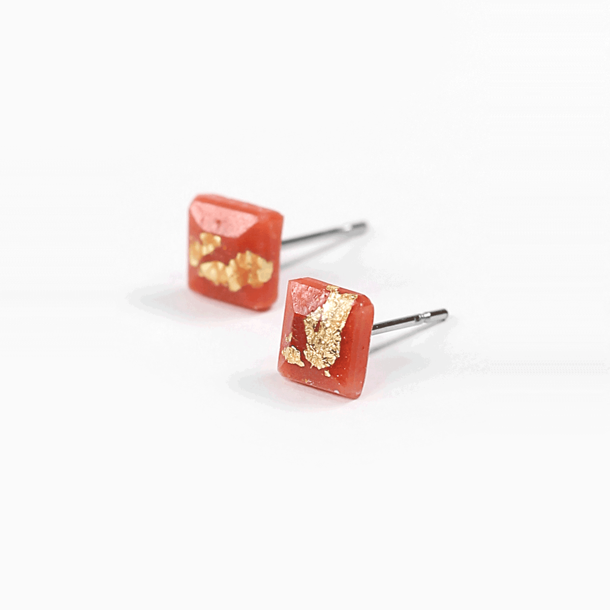 Coral Mosaique Stud Earrings - Handmade in Eco-friendly Resin & Gold Leaf - Sold by Chic & Basta