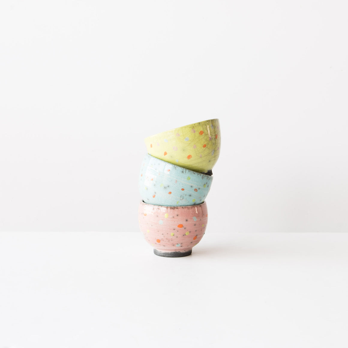A Set of 3 Multicolored Polkadots Raku Bowls: Lime, Pink & Turquoise. - Sold by Chic & Basta