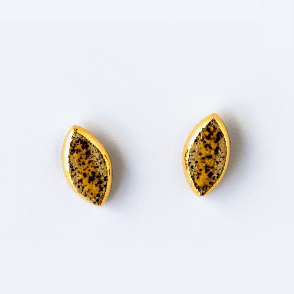 Rumi Collection - M1 - Speckled Yellow & Gold Oval Earrings