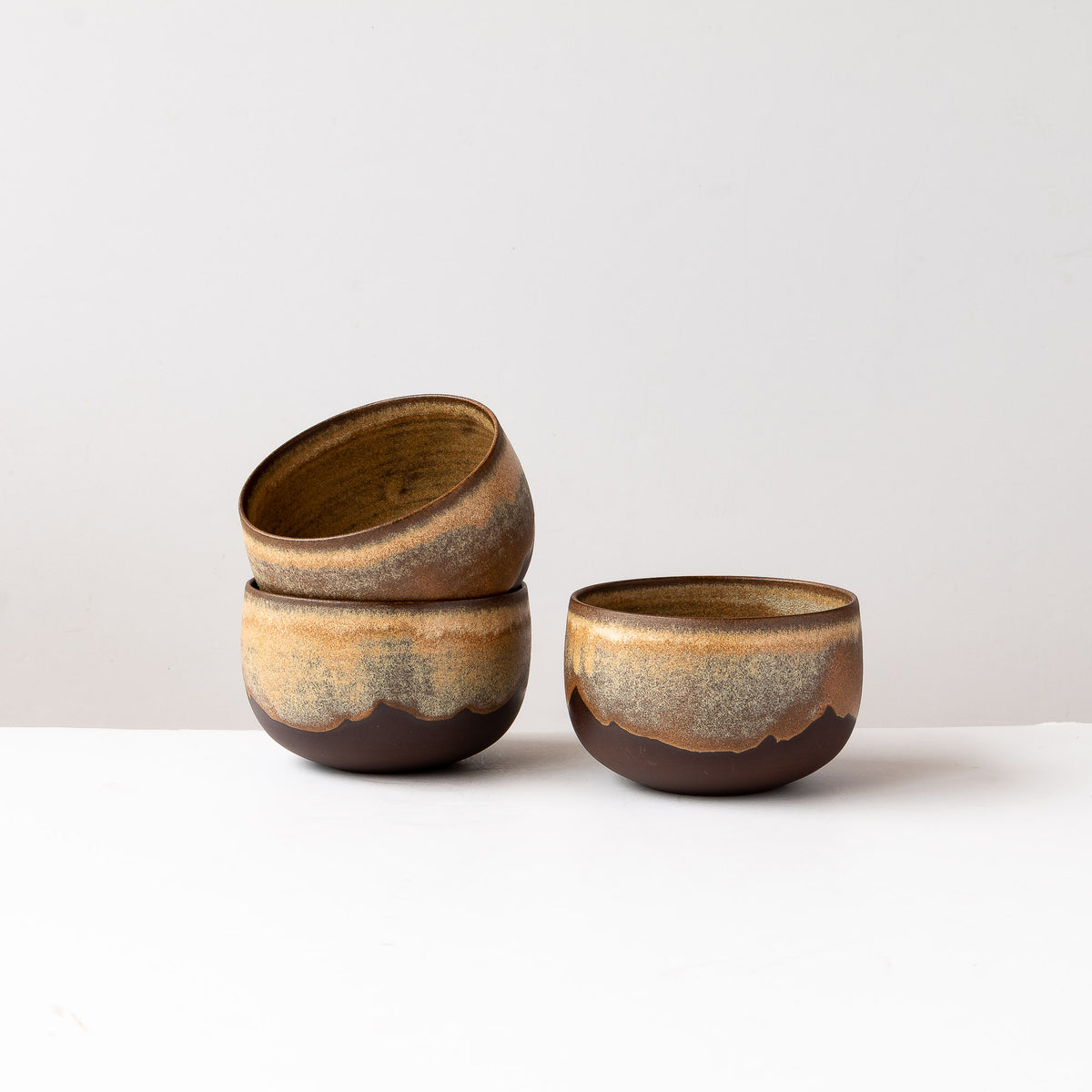 Three Handmade Coffee Bowls in Black Stoneware - Sold by Chic & Basta