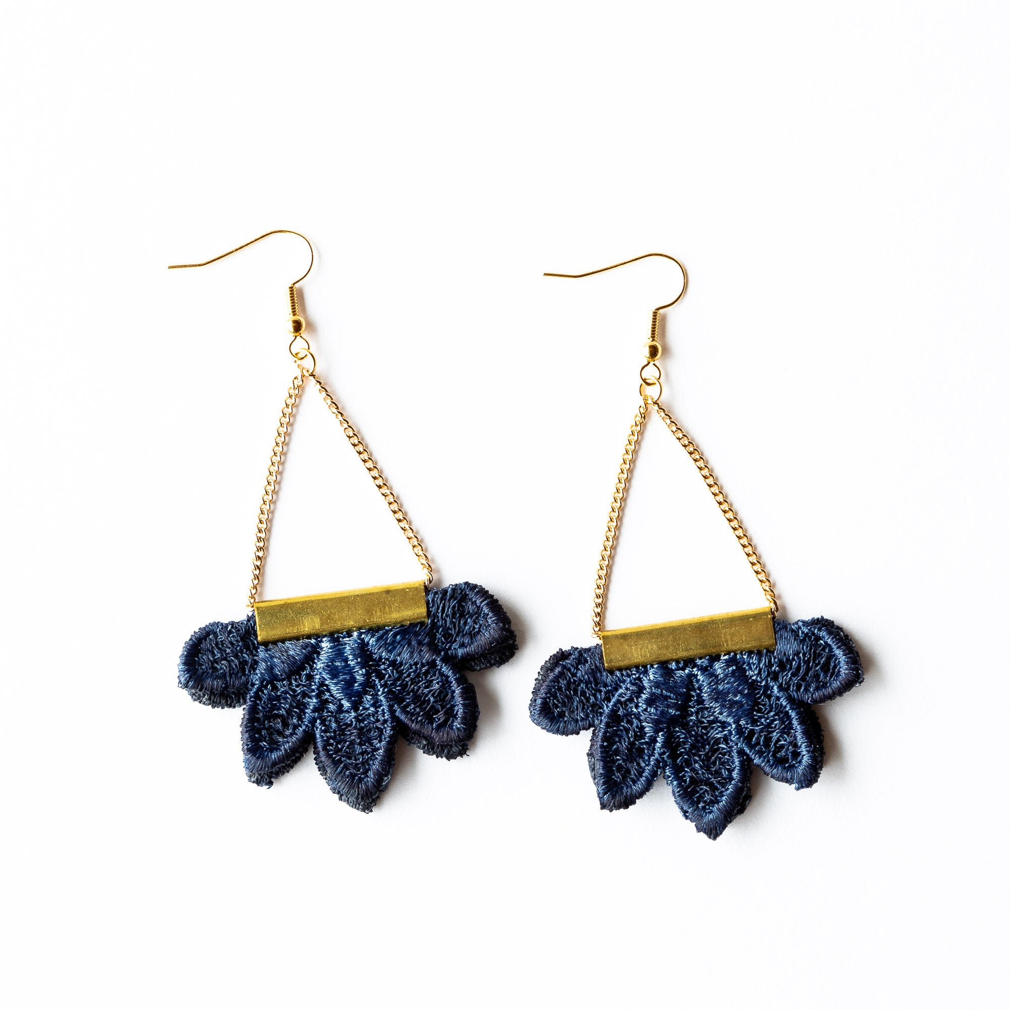 Model Wearing a Nightside - Flower Shaped Lace & Brass Earrings - Sold by Chic & Basta