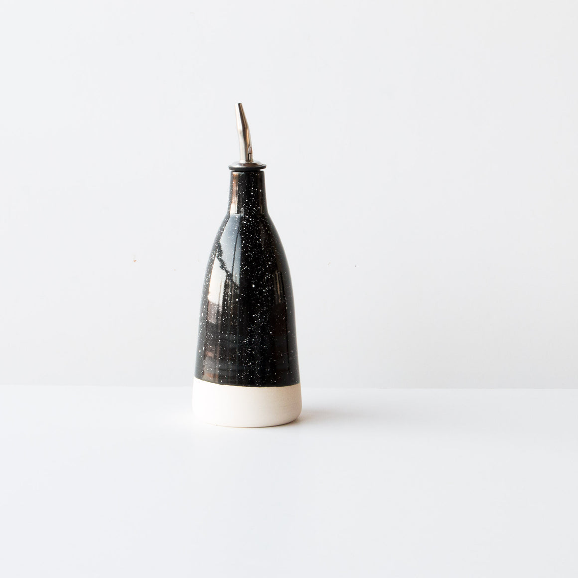 Handmade Black Ceramic Oil Dispenser With White Dots - Made in Canada