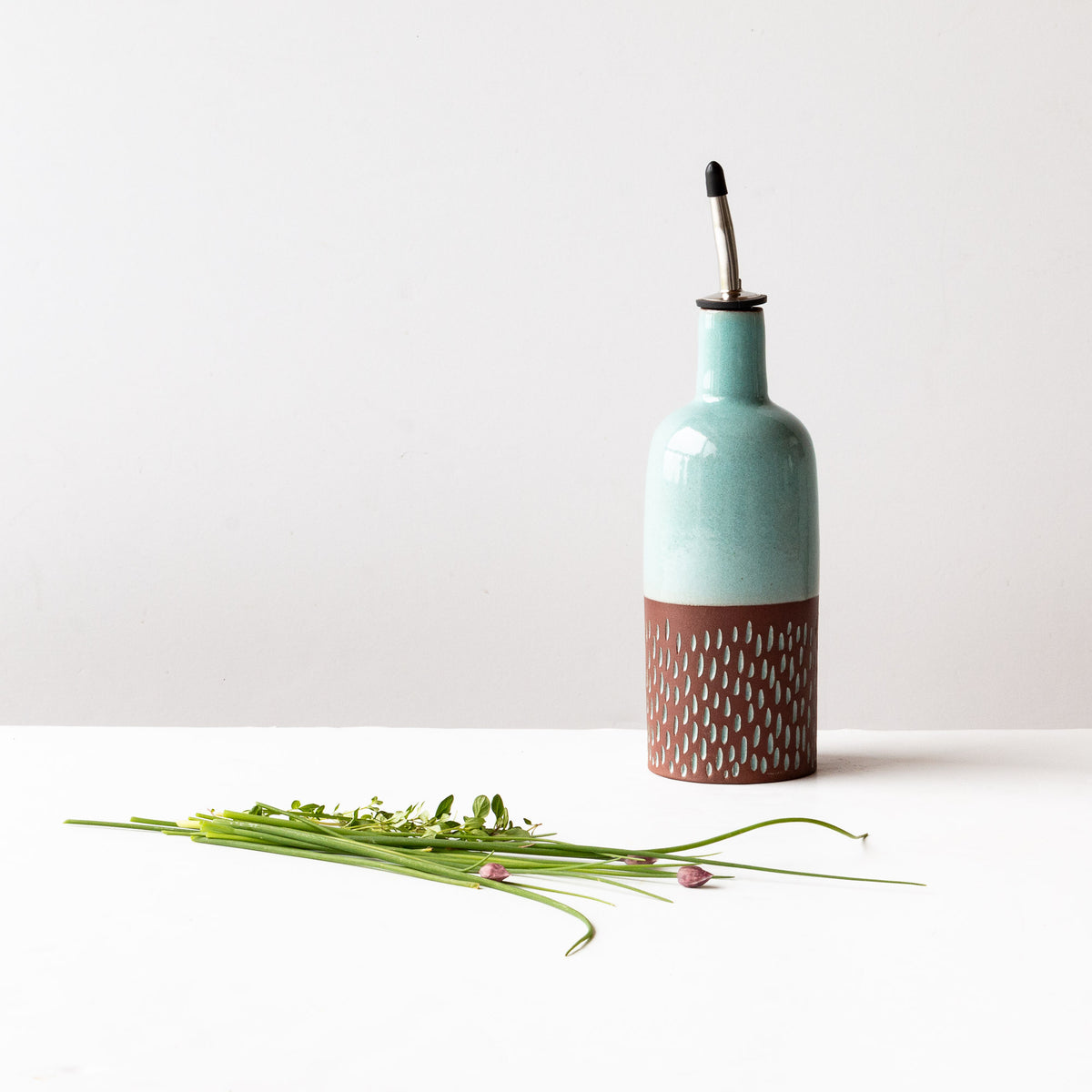Drop Pattern Oil or Vinegar Bottle - Handmade in Dark Red Clay Pottery - Sold by Chic & Basta