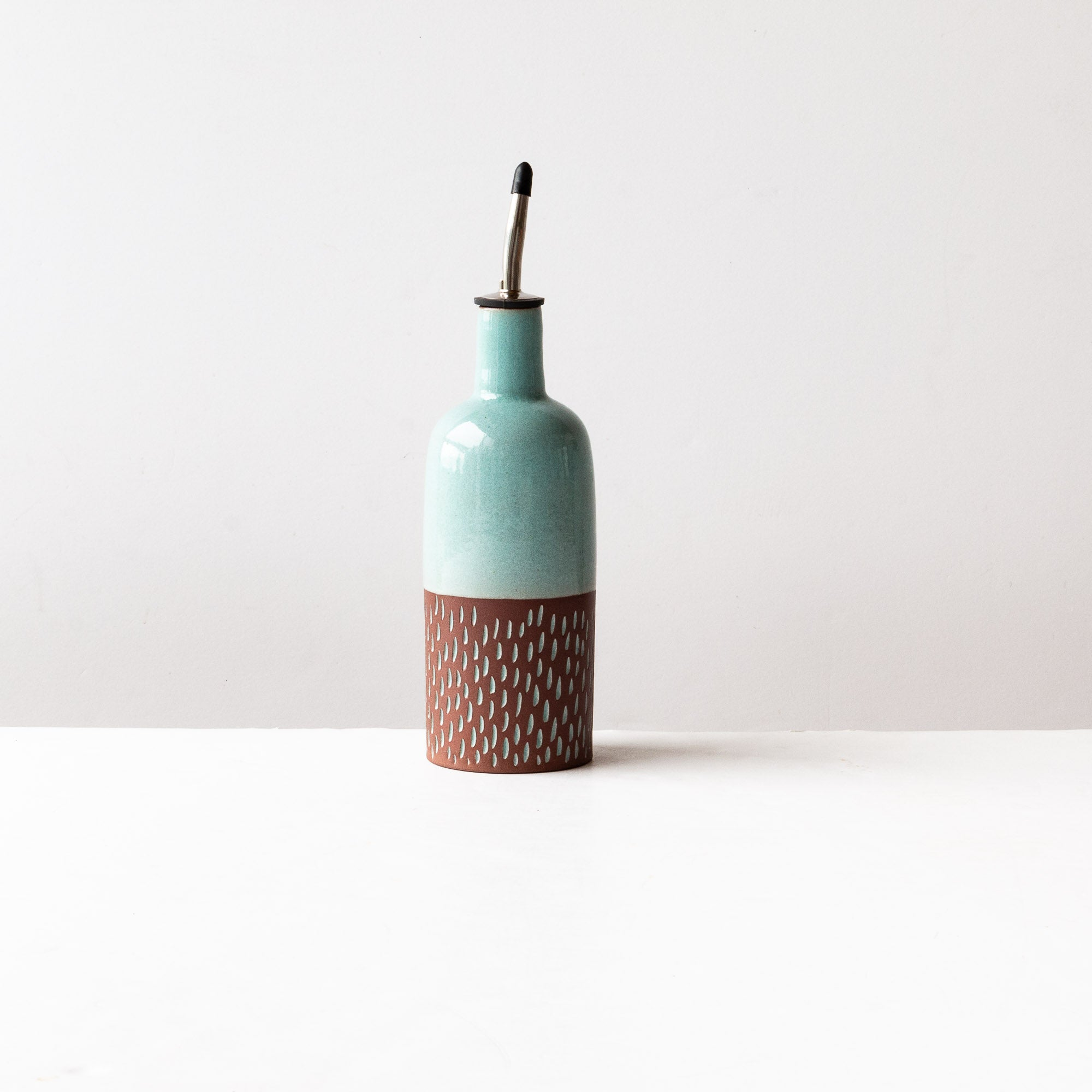 Oil or Vinegar Bottle - Handmade in Dark Red Clay Pottery