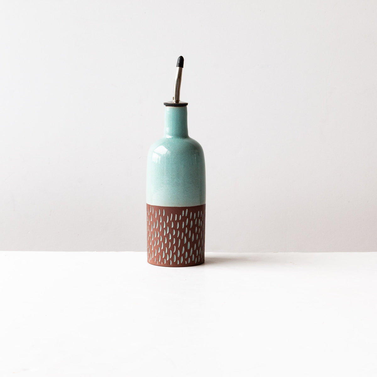 Drop Pattern Oil Dispenser Bottle - Handmade in Dark Red Clay Pottery - Sold by Chic & Basta