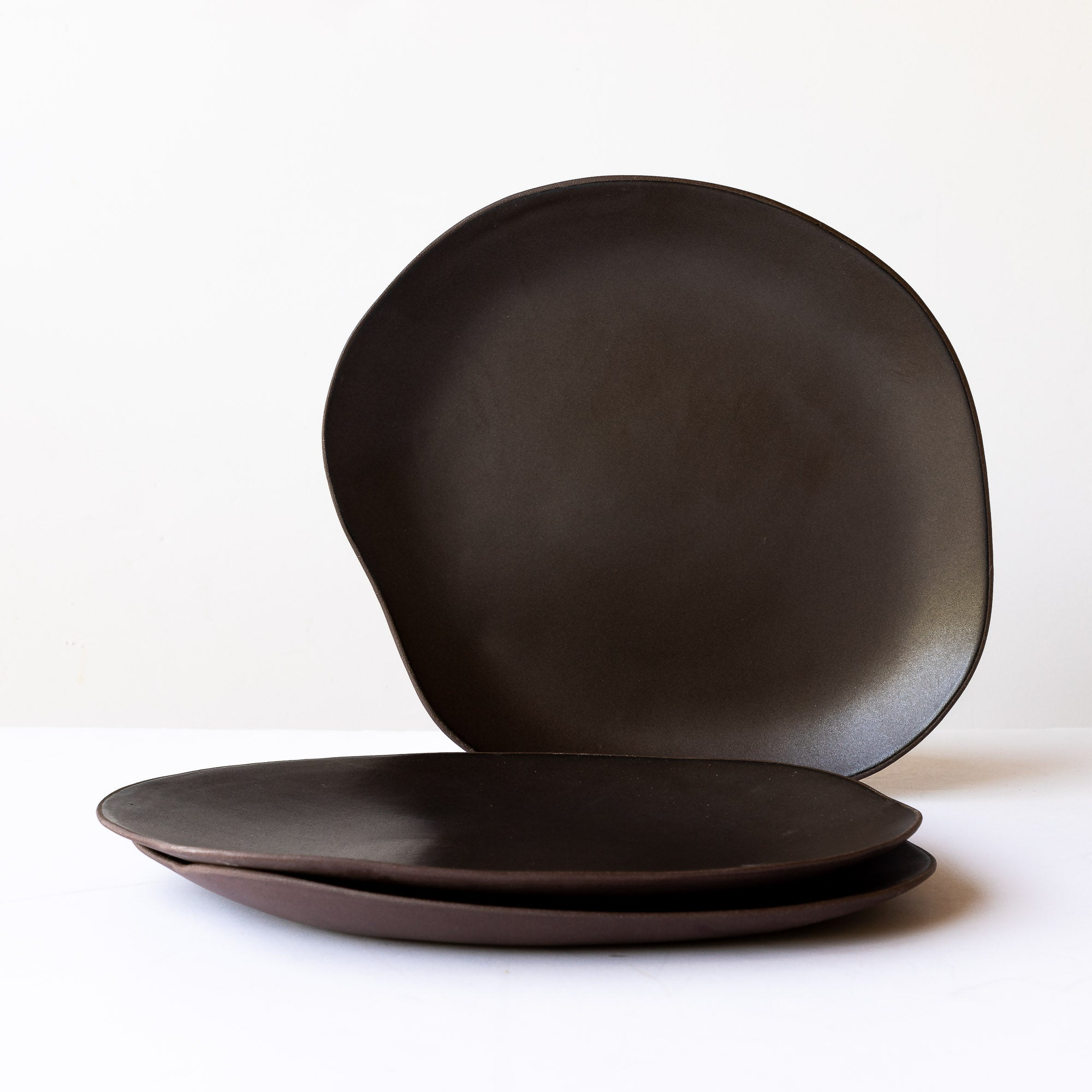 Black Handmade  Organic Shaped Large Stoneware Plate - Sold by Chic & Basta