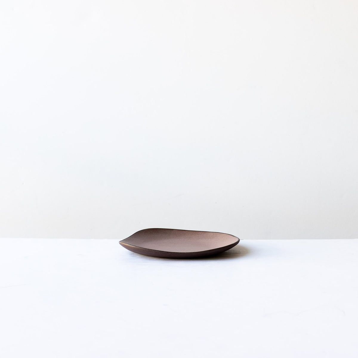 Side View - Pink Handcrafted Organic Shaped Small Stoneware Plate - Sold by Chic & Basta