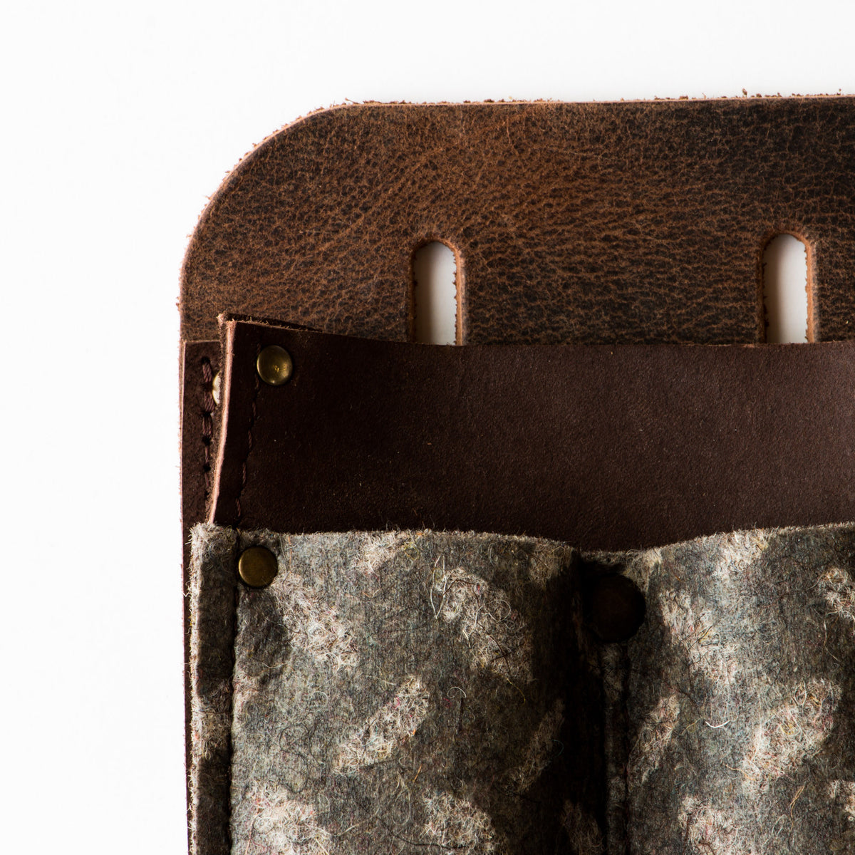 Detail - Top View - Leather & Felt Tool Holder / Pouch - Handmade in Canada - Chic & Basta