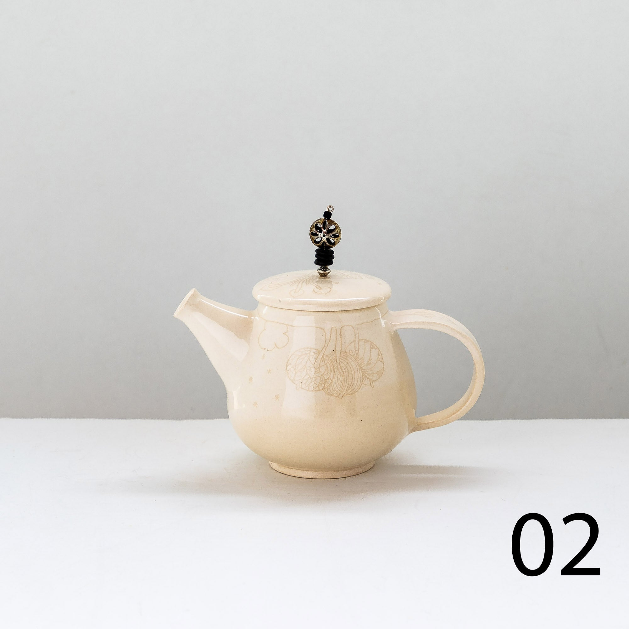 Model 2 - Hand Engraved Earthenware Teapot - Sold by Chic & Basta
