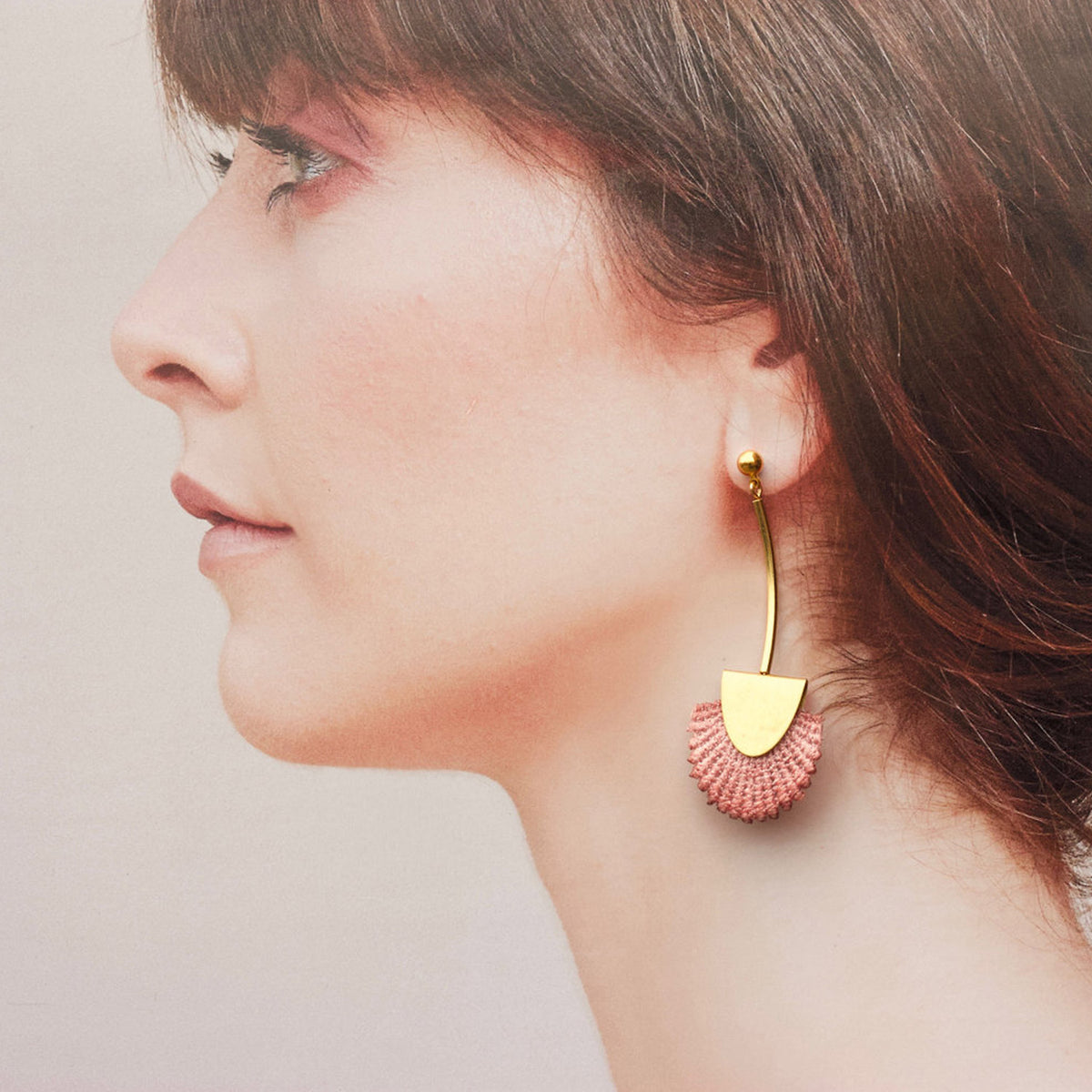 Model Wearing Desert Rose Palmas - Vintage Lace & Pure Brass Earrings - Sold by Chic & Basta