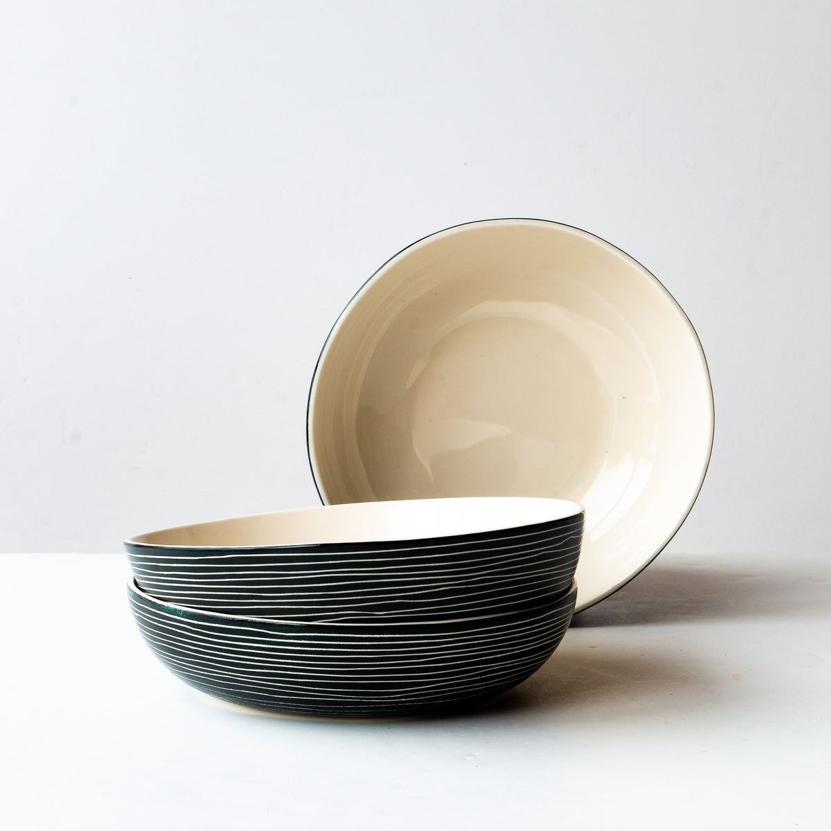 Handmade Porcelain Pasta / Salad Bowl With Stripes - Sold by Chic & Basta