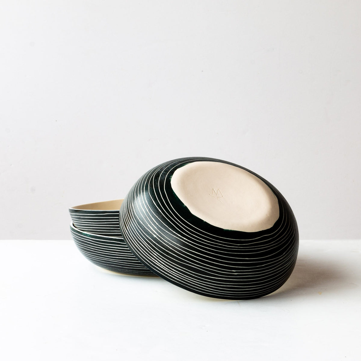 Back View - Hand Carved Ceramic Pasta / Salad Bowl With Stripes - Sold by Chic & Basta