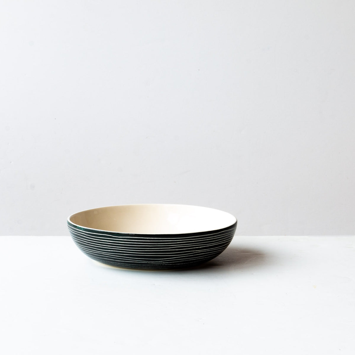 Hand Carved Ceramic Pasta / Salad Bowl With Stripes - Sold by Chic & Basta