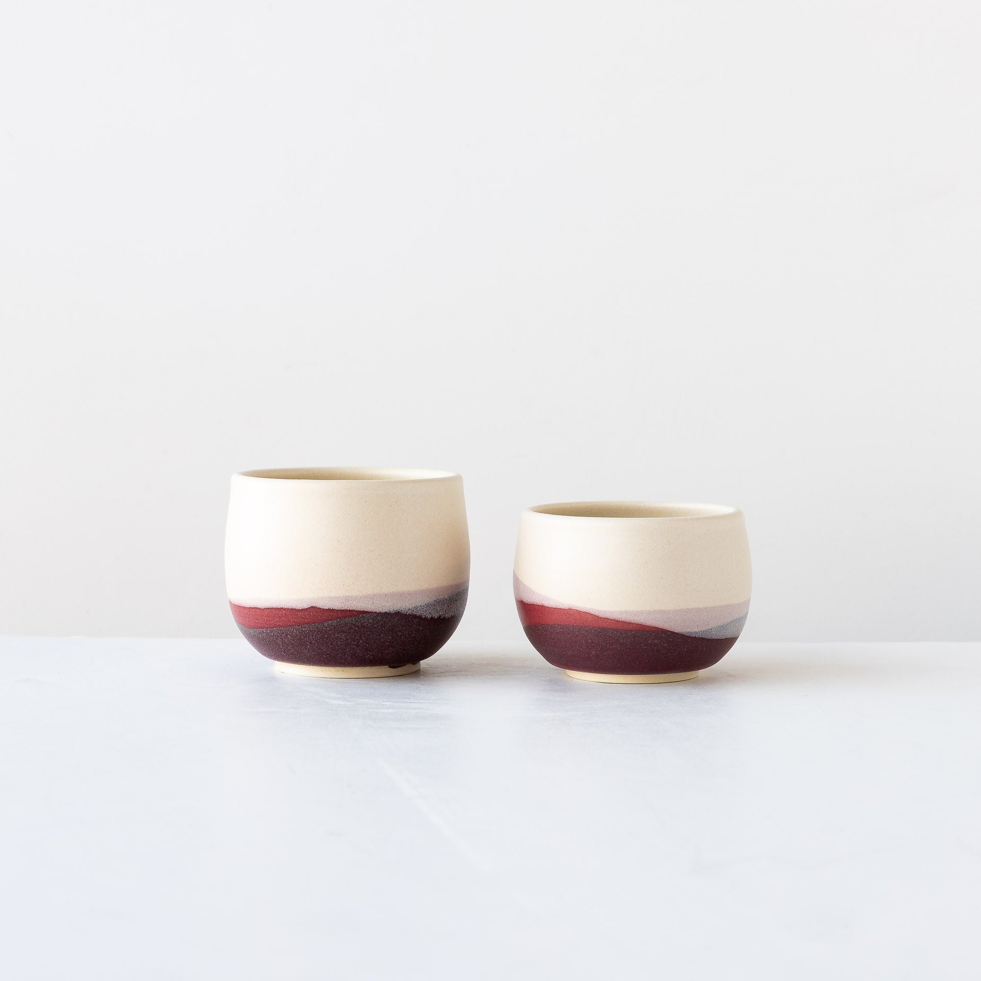 Two Pays d'O - Handmade Stoneware Tumblers / Small Bowls - Sold by Chic & Basta