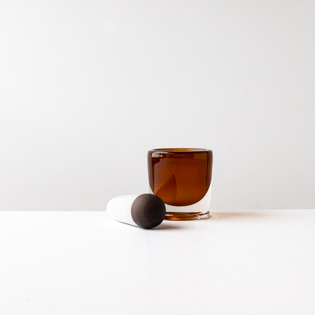 Front View - Amber Pestle & Mortar in Blown Glass & Ceramic - Sold by Chic & Basta