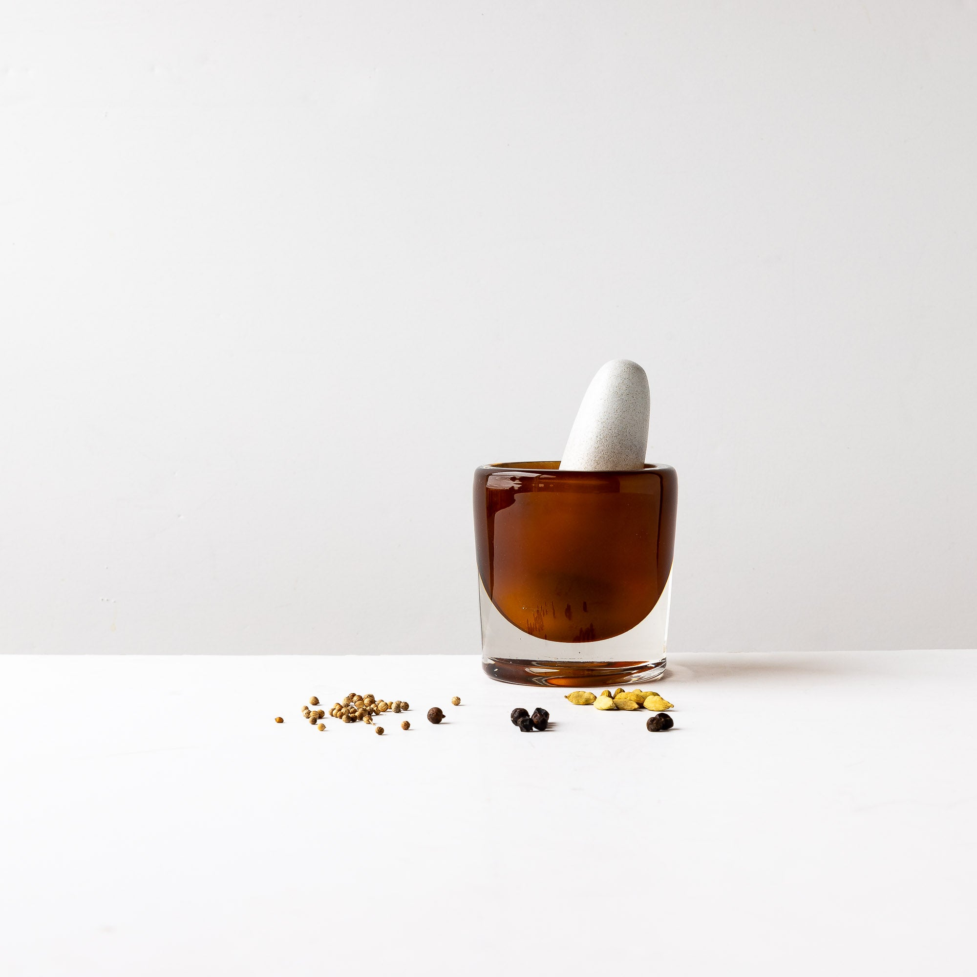 Amber Pestle & Mortar in Blown Glass & Ceramic - Sold by Chic & Basta