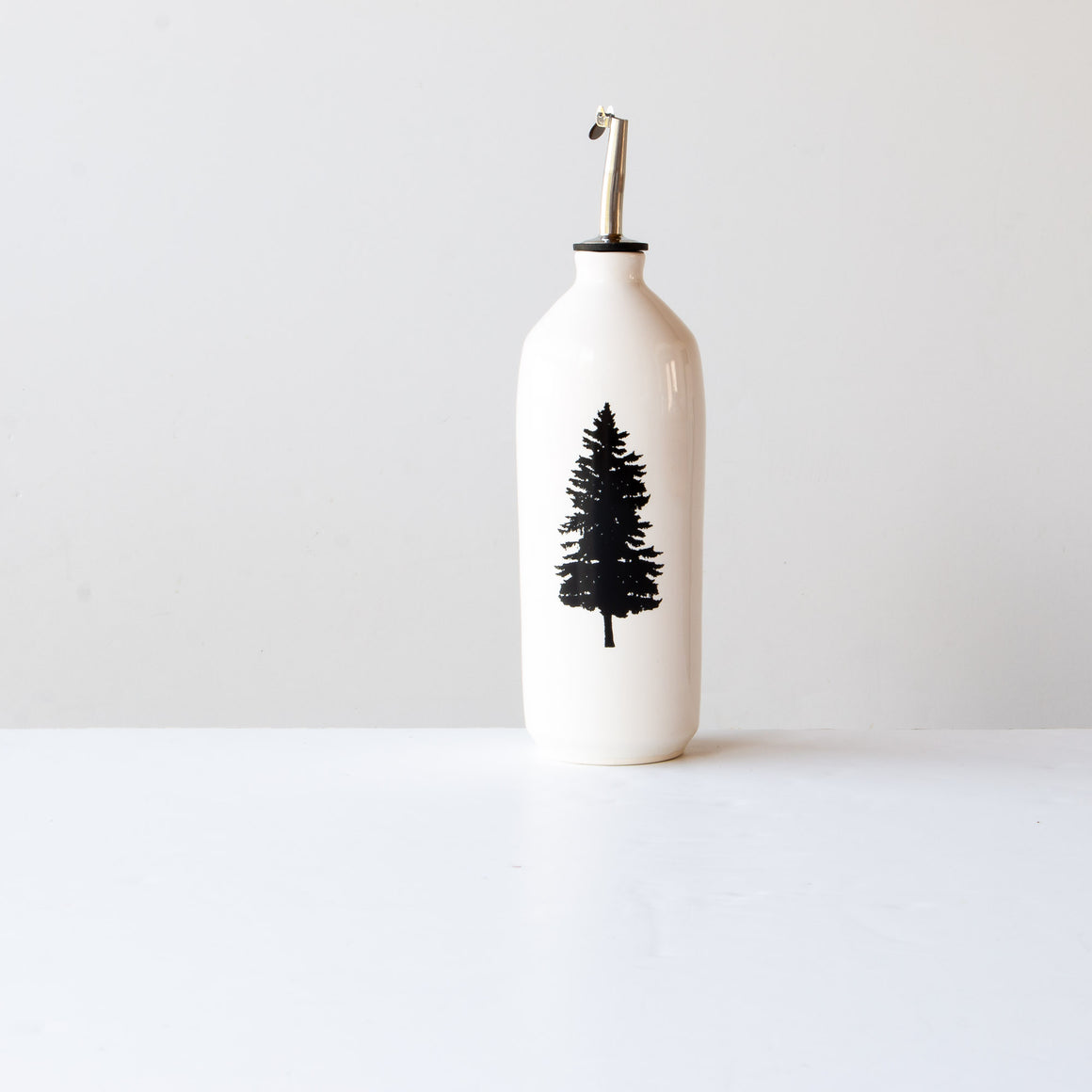 Pine Tree - Handmade White Glossy Porcelain Cruet - Sold by Chic & Basta