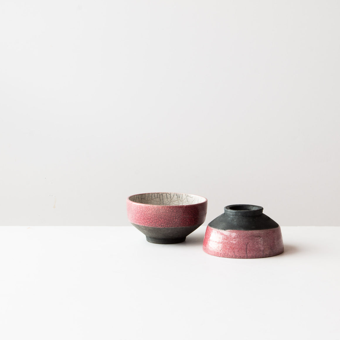 A Pile of Handmade Pink Raku Pottery Tea Cups - Chawan Tea Bowls - Sold by Chic & Basta