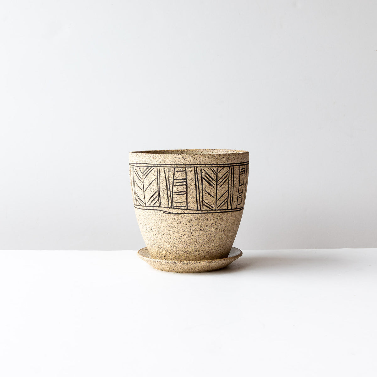 Line Pattern - Handmade Mishima Stoneware Plant Pot With Saucer - Sold by Chic & Basta