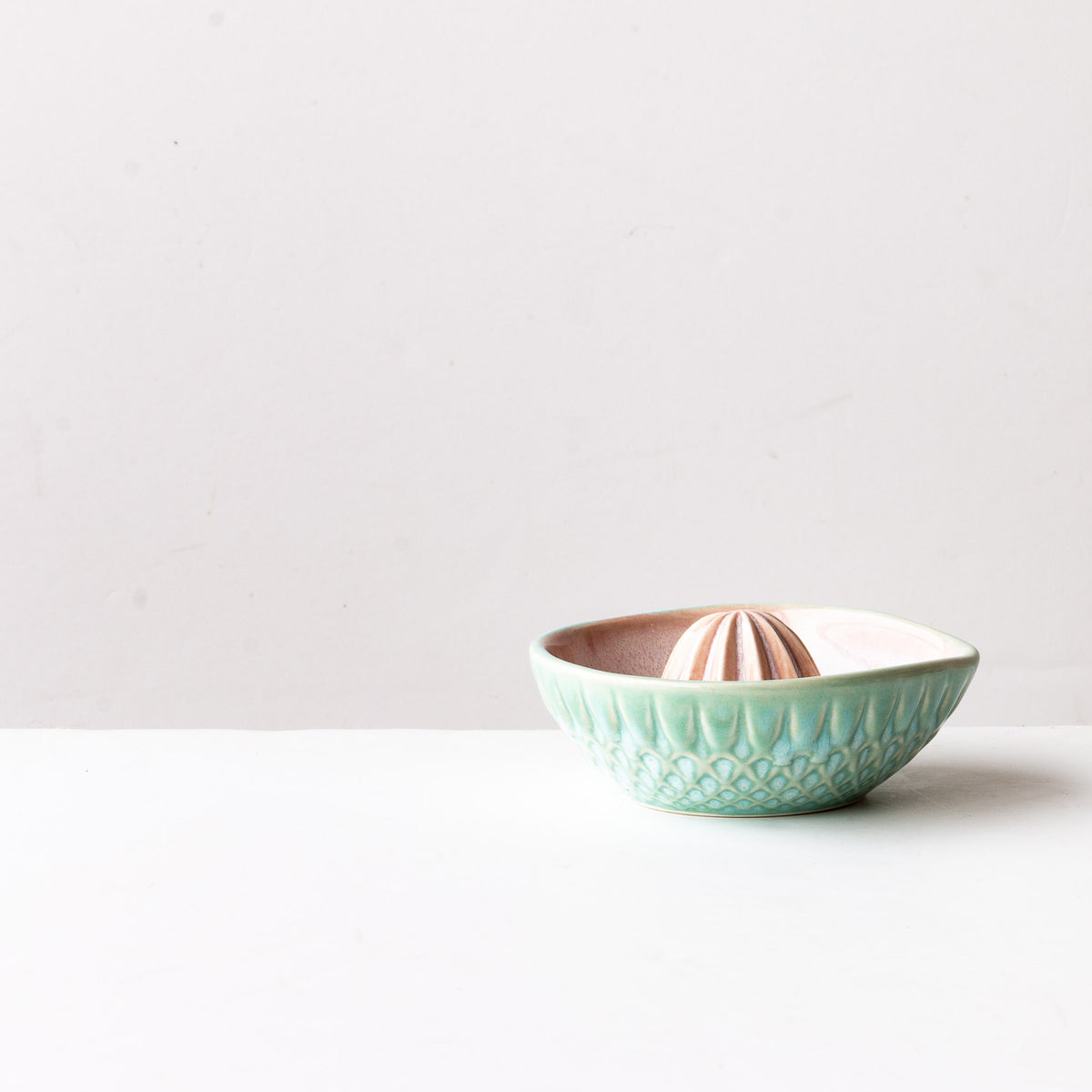 Side View - Watercolour Handcrafted Small Porcelain Citrus Juicer - Sold by Chic & Basta