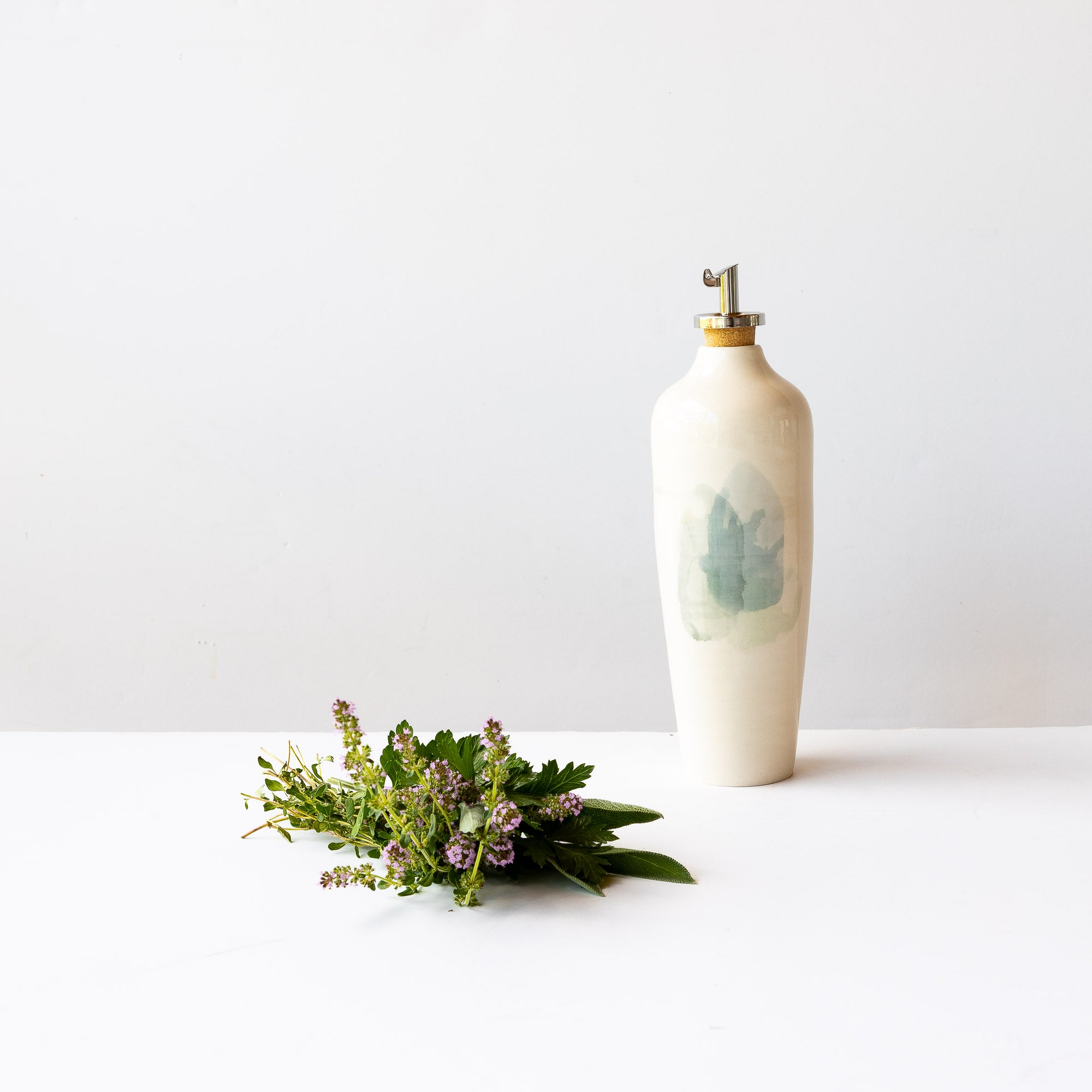 Handmade Porcelain Oil Dispenser - Sold by Chic & Basta