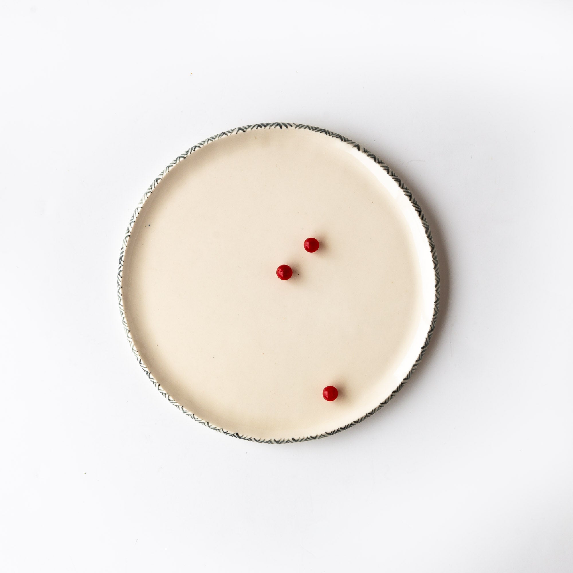 Top View With Fruits - Medium Handmade Porcelain Plates With Rim Adorned With a Painted Frieze - Sold by Chic & Basta