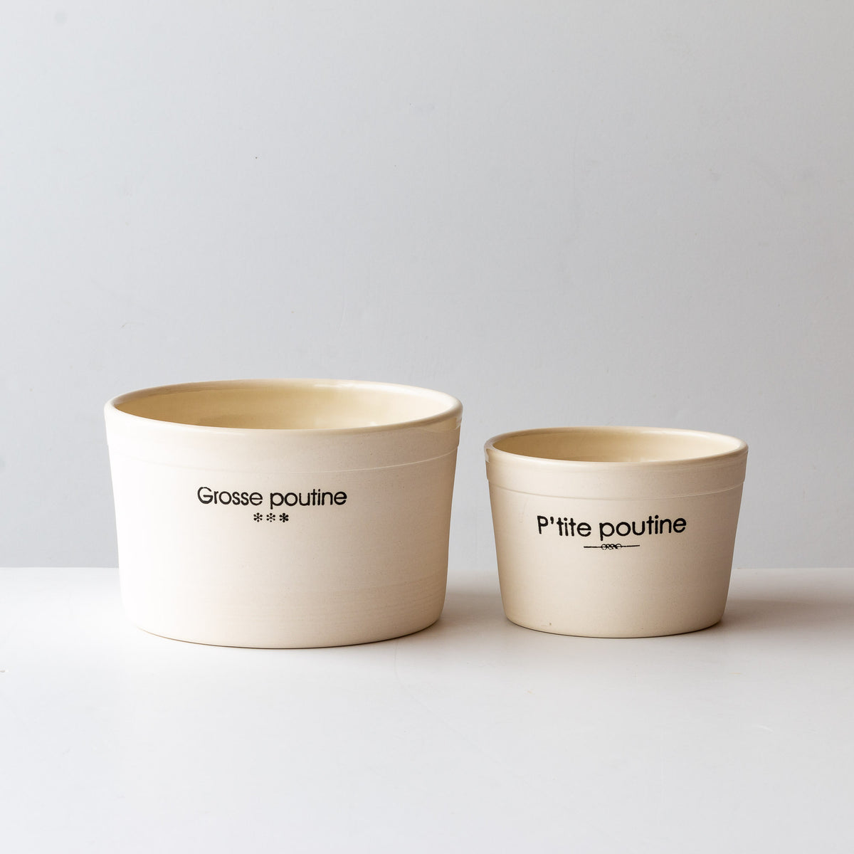 "Handmade Porcelain Bowls - ""Petite Poutine"" & ""Grosse Poutine"" - Sold by Chic & Basta"