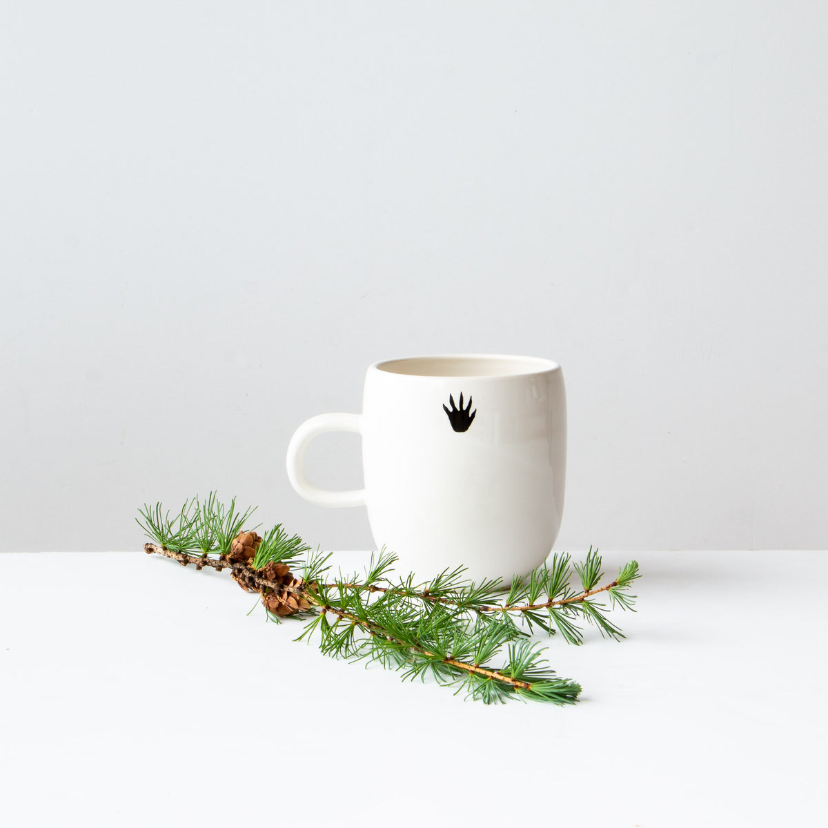 Rear View - Raccoon - Handmade Porcelain Coffee Mug / Cup - Sold by Chic & Basta