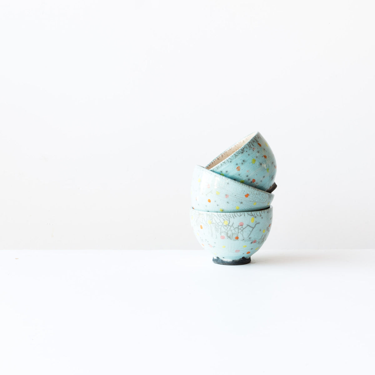 Turquoise Handmade Raku Tea Bowls with Dots - Sold by Chic & Basta