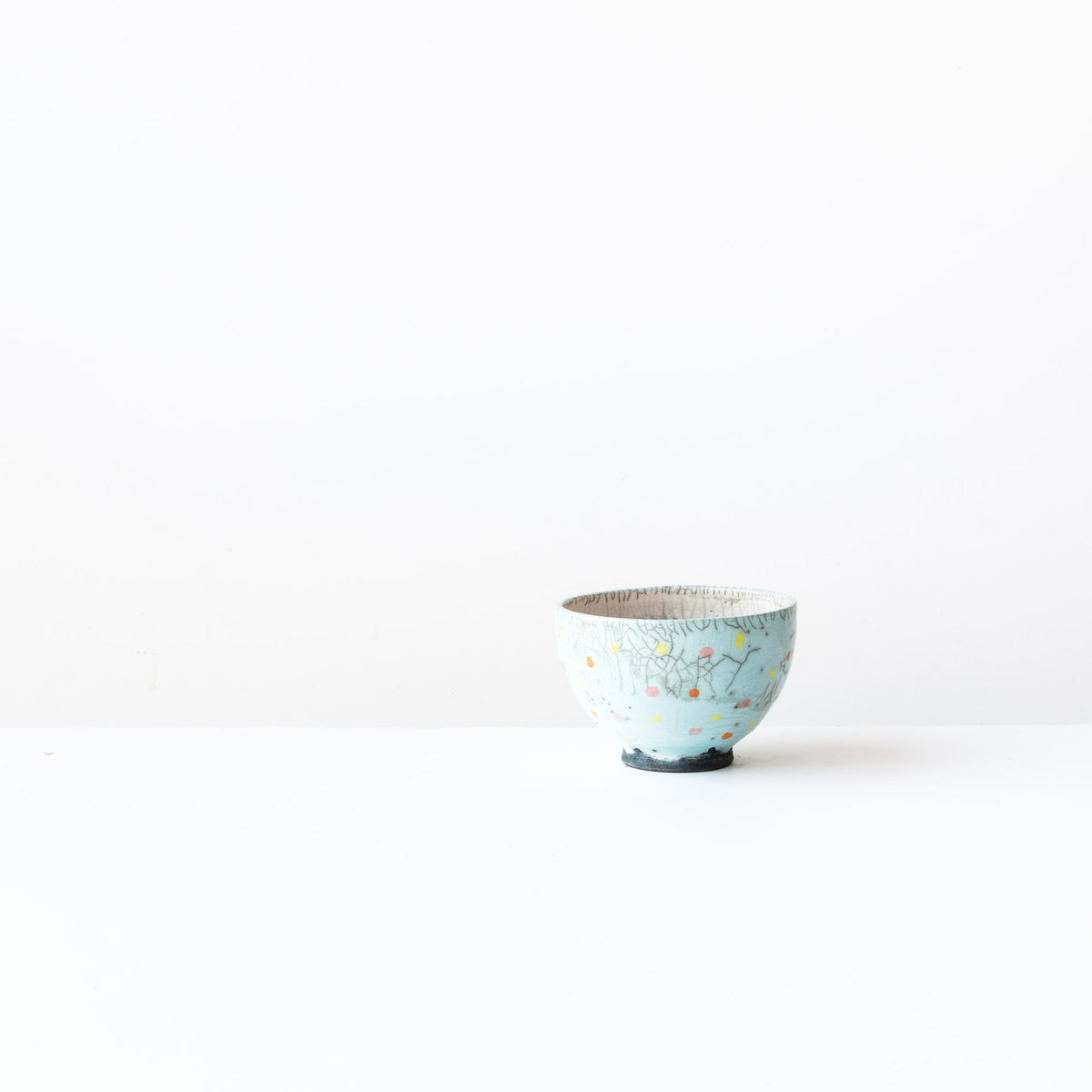 Turquoise Handmade Raku Tea Bowl with Dots - Sold by Chic & Basta