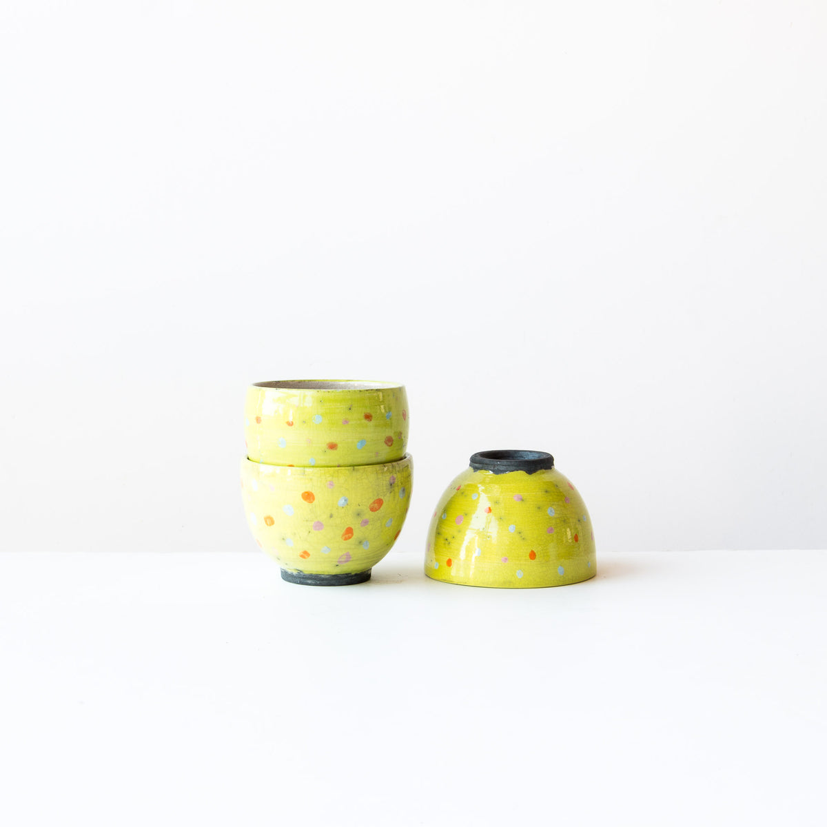 Lime Handmade Raku Tea Bowls with Dots - Sold by Chic & Basta