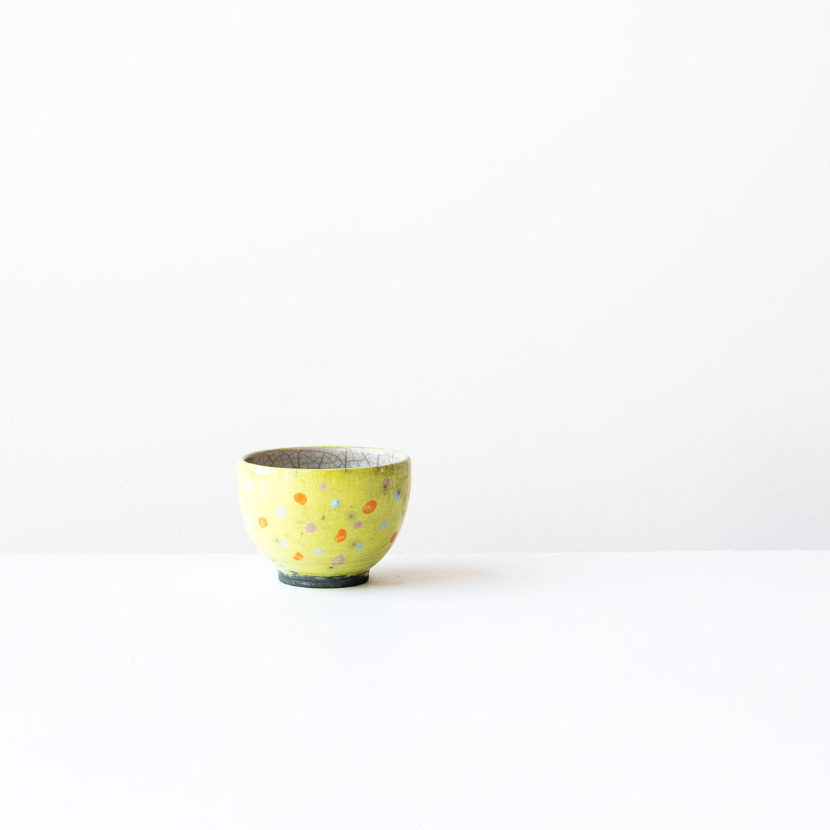 Lime Handmade Raku Tea Bowl with Dots - Sold by Chic & Basta