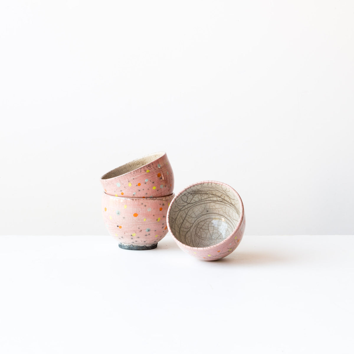 Pink Handmade Raku Tea Bowls with Dots - Sold by Chic & Basta
