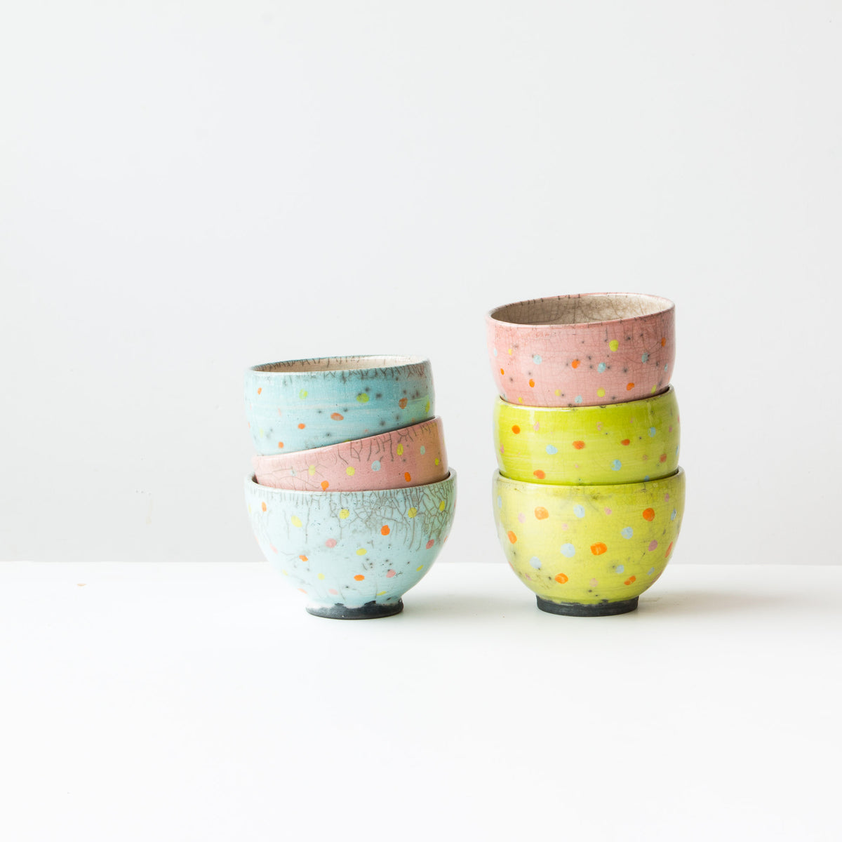Pastel Colour Lime Handmade Raku Tea Bowls with Dots - Sold by Chic & Basta