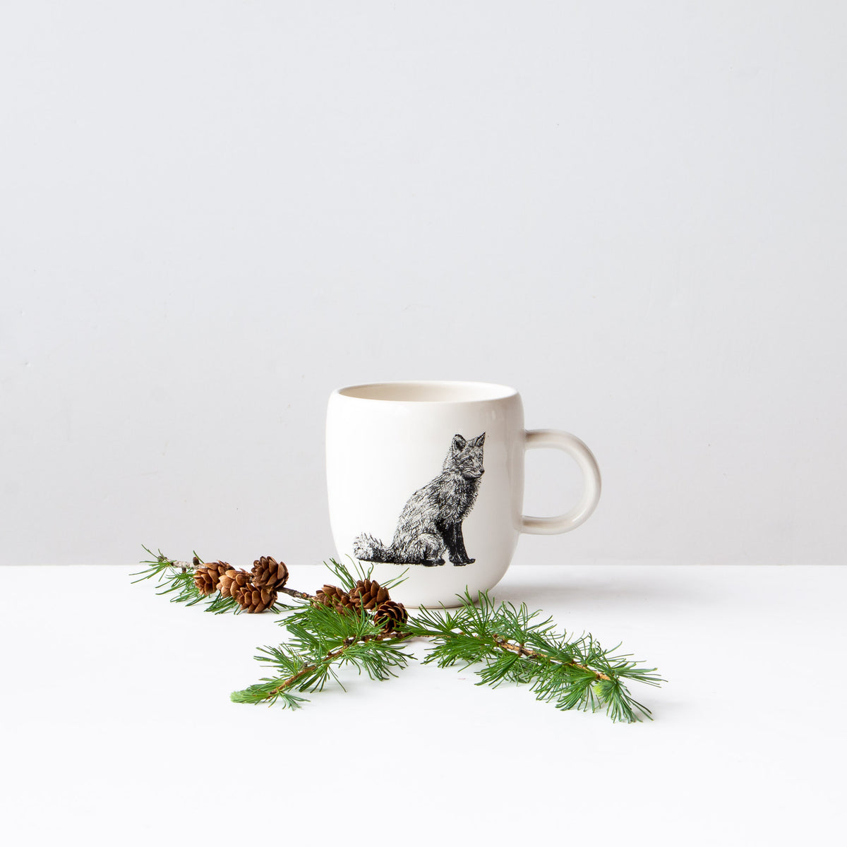 Red Fox - Handmade Porcelain Coffee Mug / Cup - Sold by Chic & Basta
