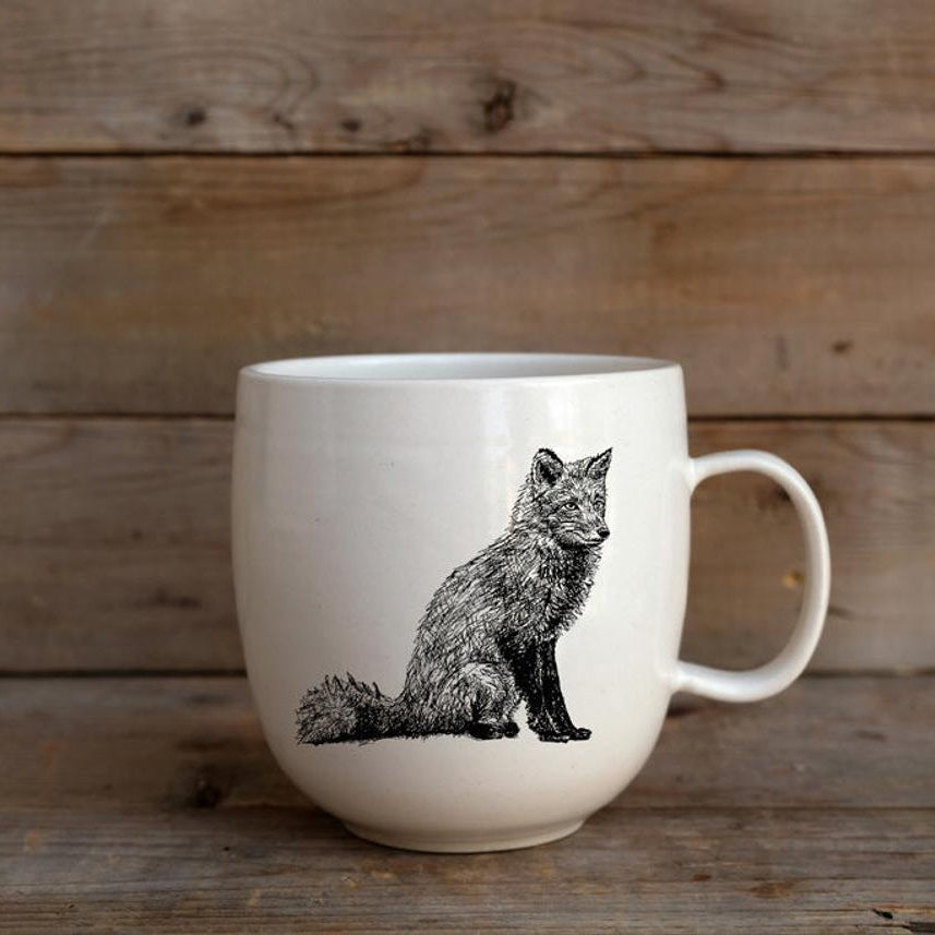 Red Fox - Handmade Porcelain Coffee Mug / Cup