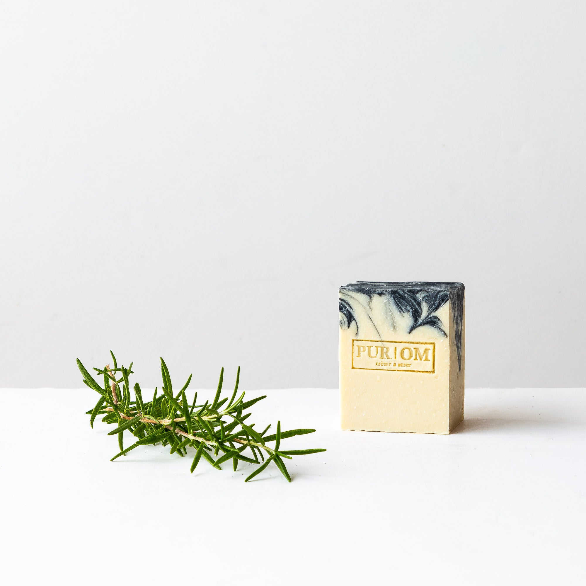 Shown with a Rosemary Branch - Rosemary + Bergamot - Shaving Soap Bar - Sold by Chic & Basta