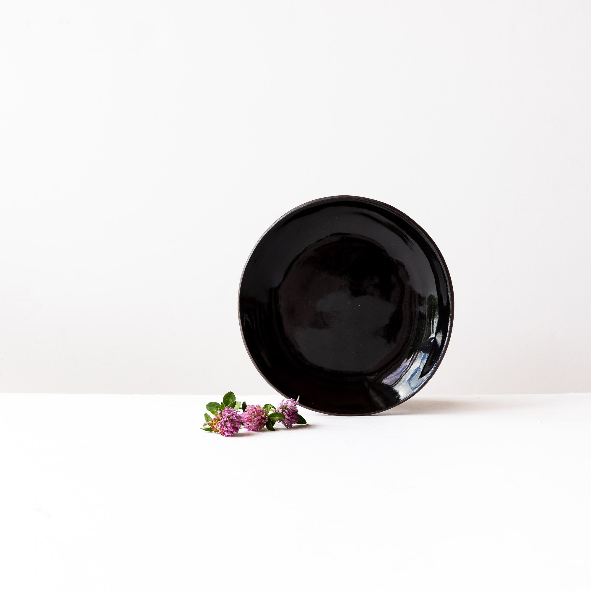 Hancrafted Salad Plate in Black Lacquered Stoneware - Sold by Chic & Basta