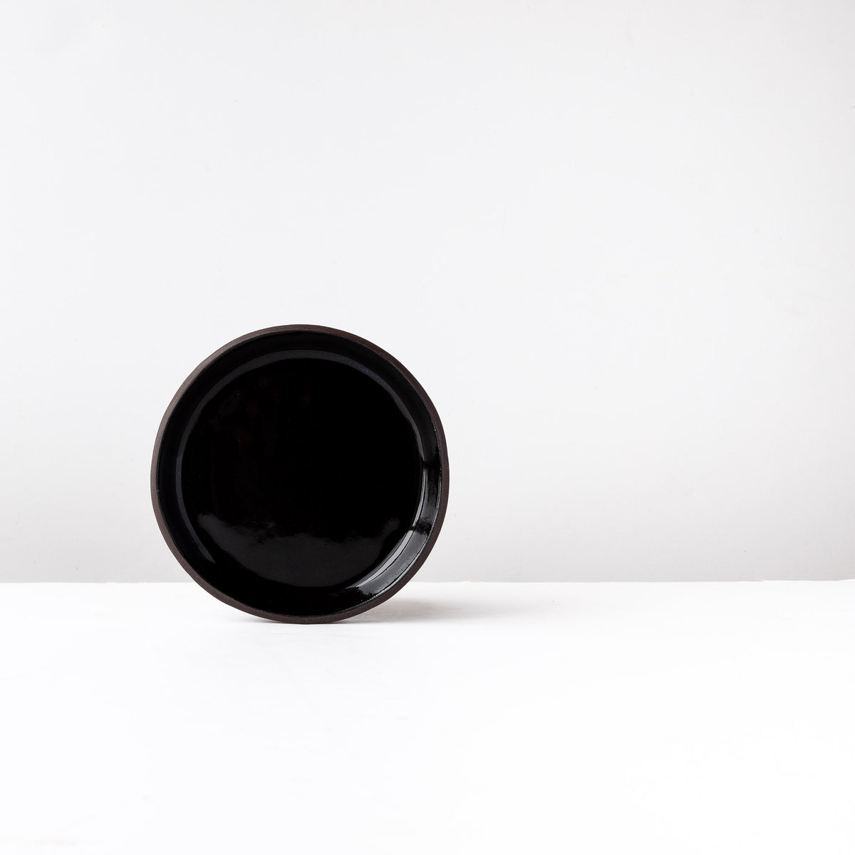 Medium Handmade Saucer in Black Lacquered Stoneware - Sold by Chic & Basta