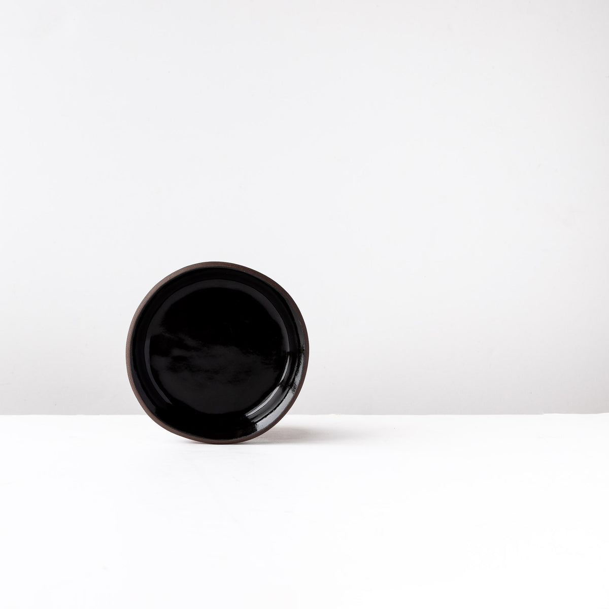 Small Handmade Saucer in Black Lacquered Stoneware - Sold by Chic & Basta