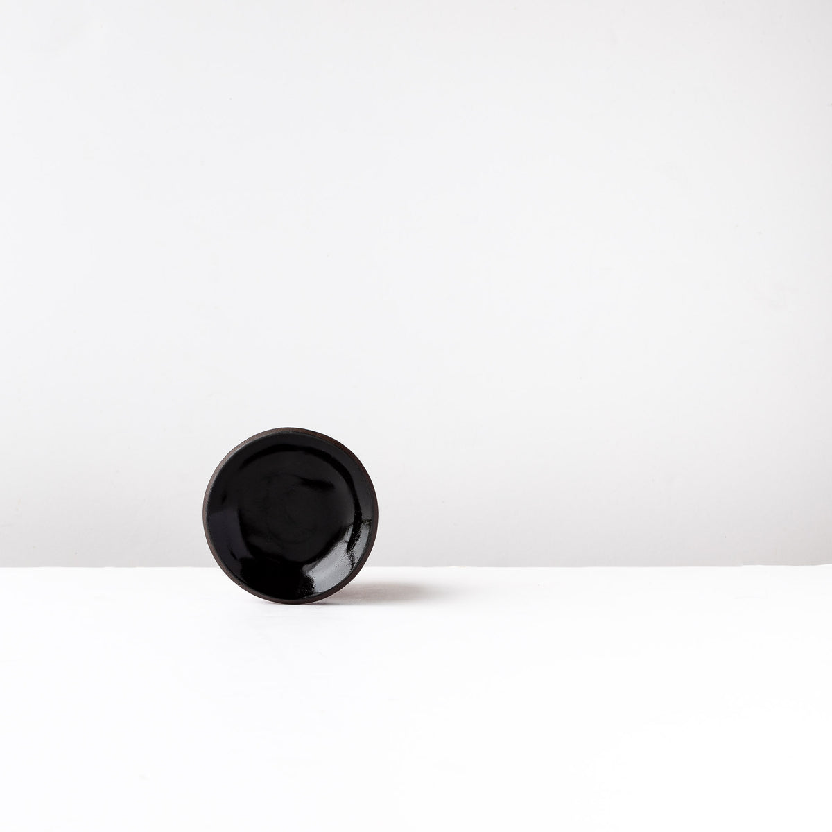 X-Small Handmade Saucer in Black Lacquered Stoneware - Sold by Chic & Basta