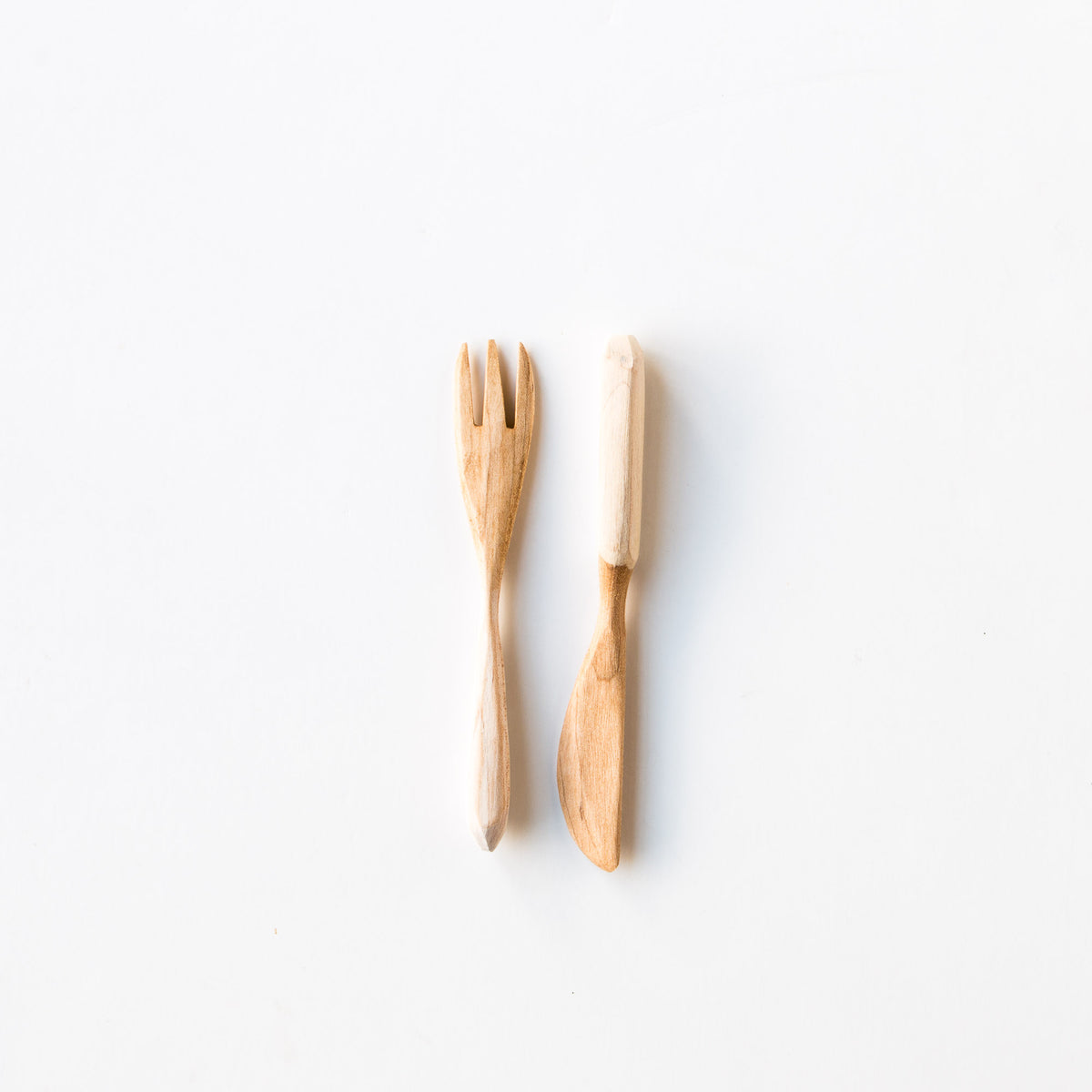Wooden Fork and Knife Set - Handmade in Reclaimed Maple Wood - Sold by Chic & Basta