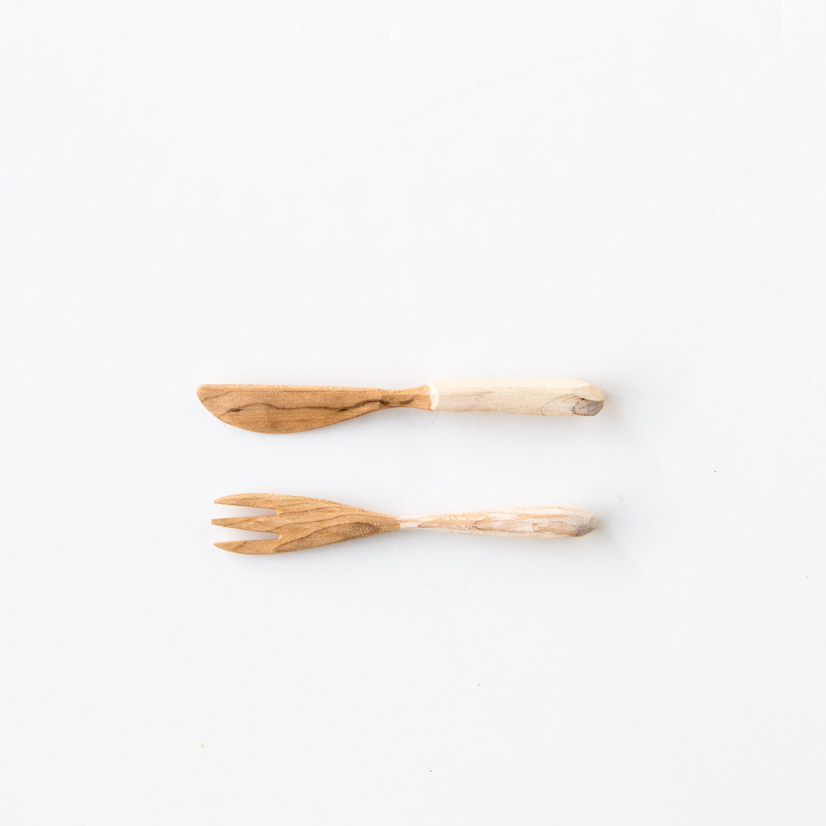 Wooden Fork and Knife Set - Handmade in Recycled Maple Wood - Sold by Chic & Basta