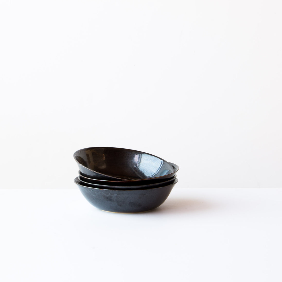 Black Handmade Shallow Porcelain Bowl - Sold by Chic & Basta