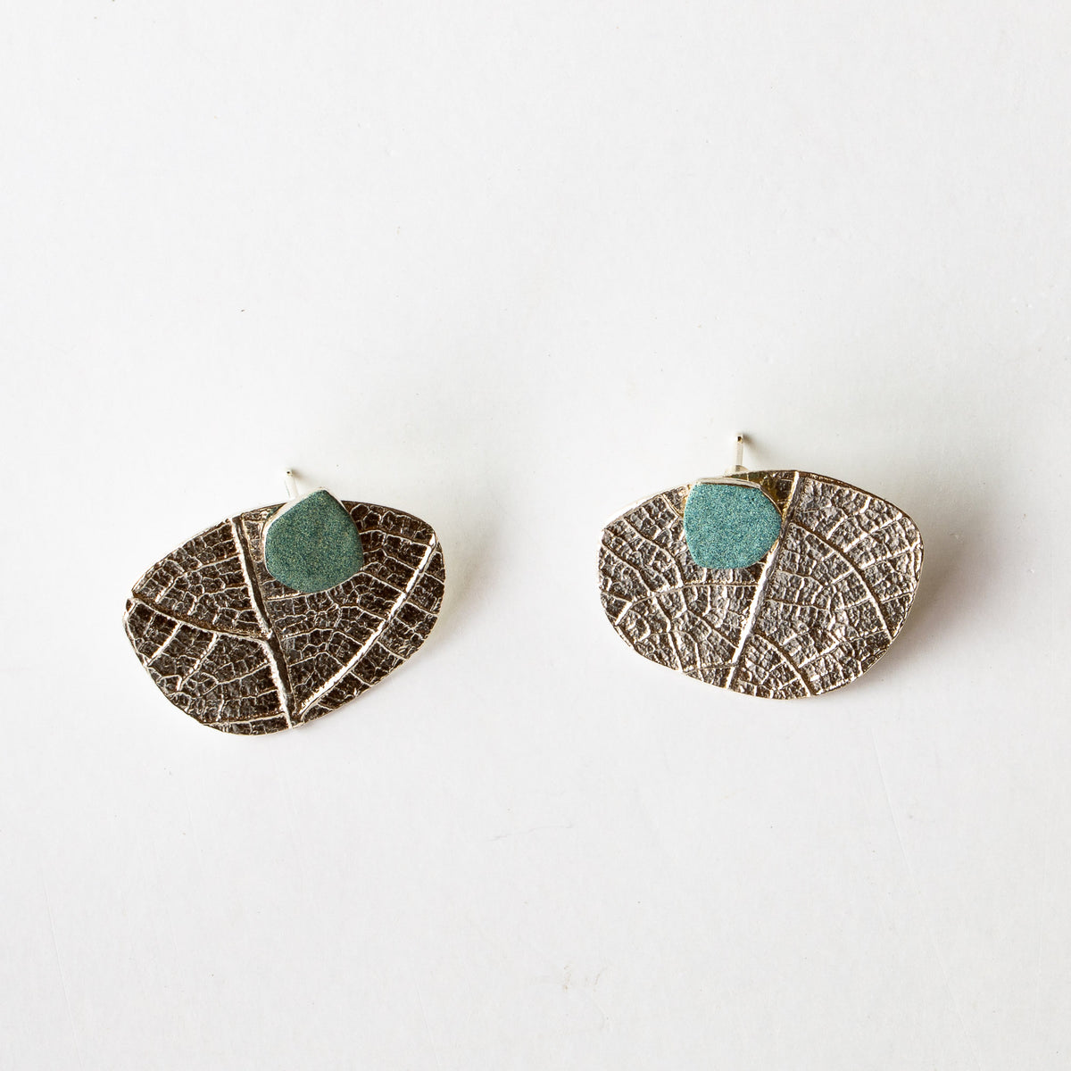 Silver & Turquoise Color Ear Jacket Earrings - Sold by Chic & Basta